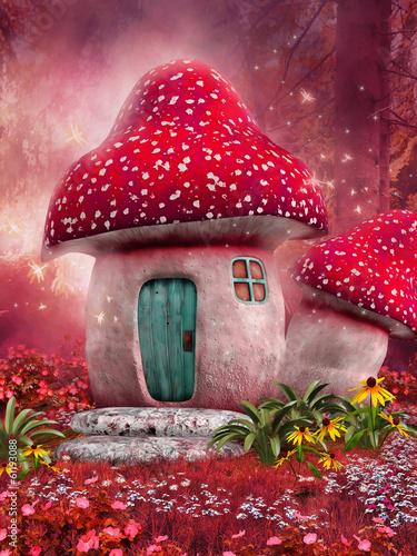 Zdjęcia na płótnie, fototapety na wymiar, obrazy na ścianę : Zaczarowany różowy domek z grzyba