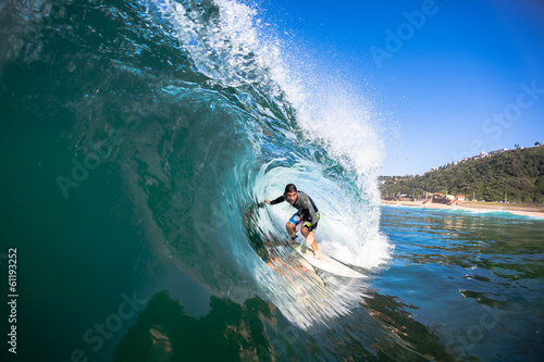 Surfer Inside Hollow Wave
