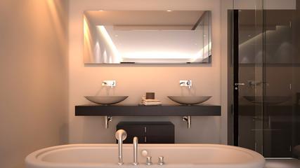 Modern hotel room bathroom with bathtub and sink