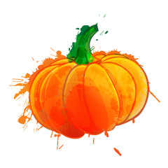Pumpkin  made of colorful splashes on white background