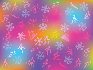 colorful background with snowflakes and winter sports icons