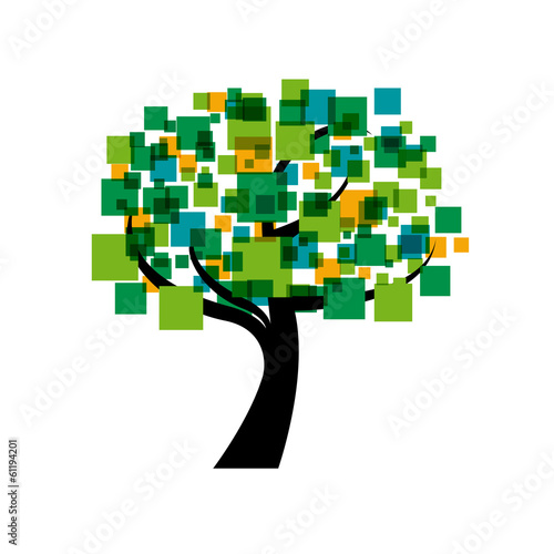 Vector logo tree, innovation concept