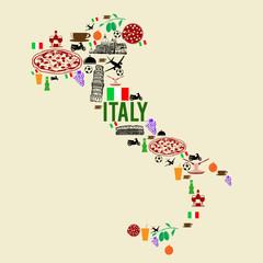 Italy landmark map silhouette