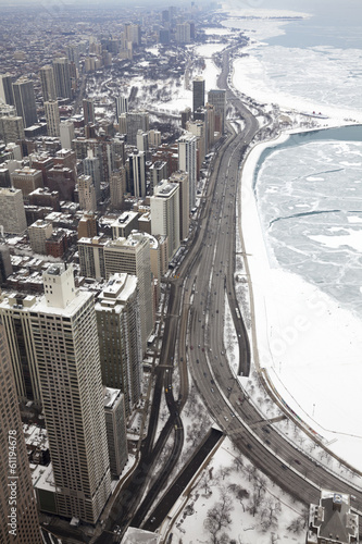 Foto op Plexiglas Grote meren Chicago city lake Michigan shoreline in a winter