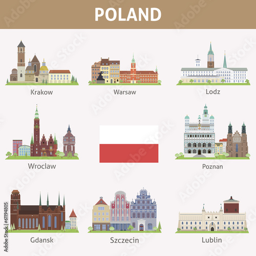 Fototapeta Poland. Symbols of cities