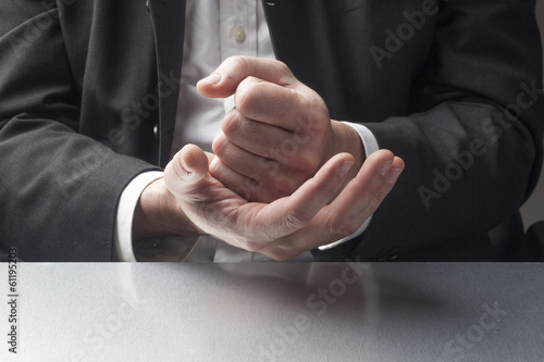 confident male hands at work