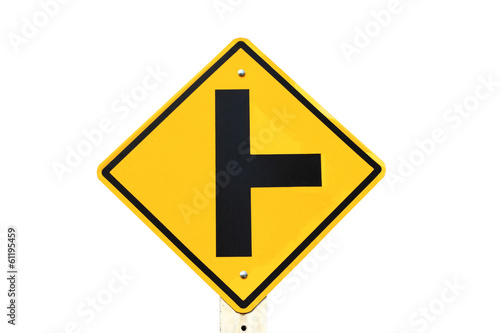 Road sign crossroad on white black  background