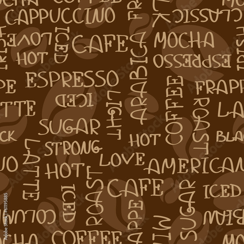 Coffee words seamless pattern