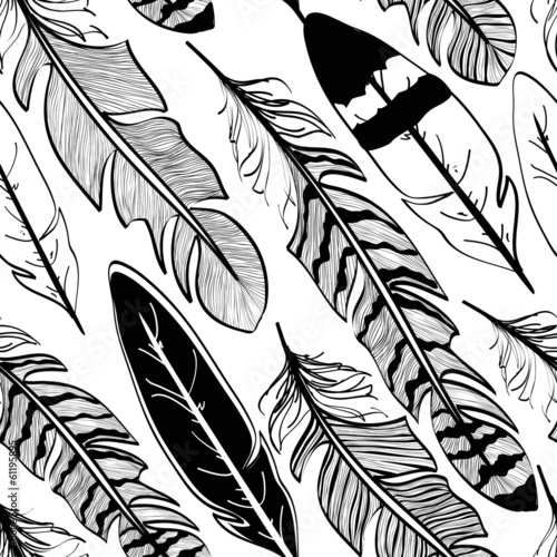 Seamless pattern of bird feathers - 61195895