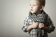 Child.Fashionable little Boy in Scurf.Fashion Children.4 years