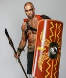 Wounded gladiator with cold weapon