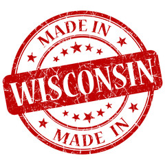 made in Wisconsin red round grunge isolated stamp