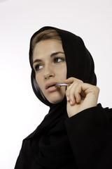 A Beautiful Arab Woman Brainstorming