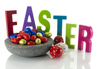 concrete dish with easter eggs