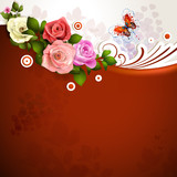 Red background with roses and butterflies