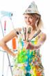 Leinwanddruck Bild - Blonde Malerin mit Pinseln