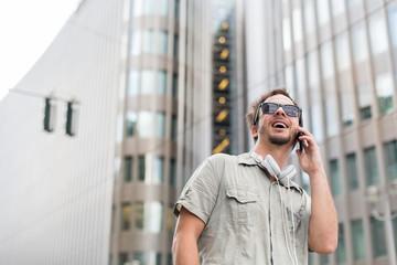 Cheerful man on the phone