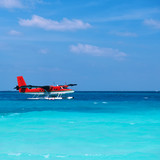 Twin otter seaplane at Maldives