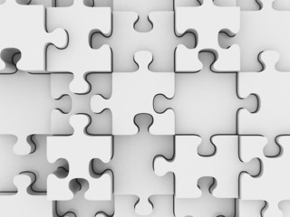 3D Jigsaw puzzle with blank white pieces on white background