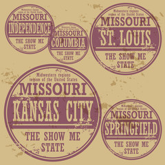 Grunge rubber stamp set with names of Missouri cities