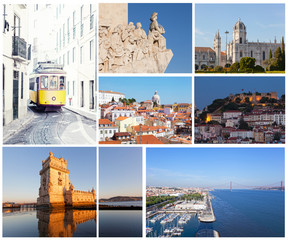 Set of photos with types of sights of Lisbon, Portugal