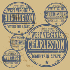 Grunge rubber stamp set with names of West Virginia cities
