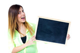 woman with chalkboard