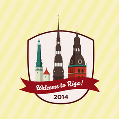 Welcome to Riga - Badge with Historical Buildings