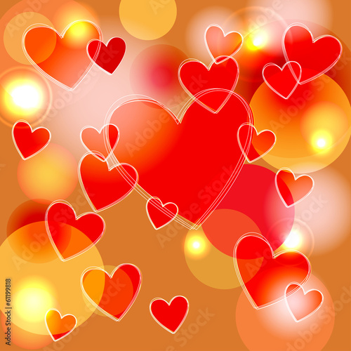 background of hearts with bokeh