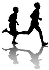 Two running men race