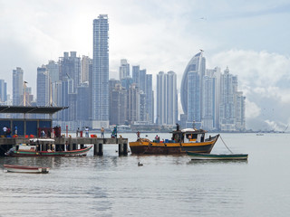 Fishing boats and skyscrapers in Panama City