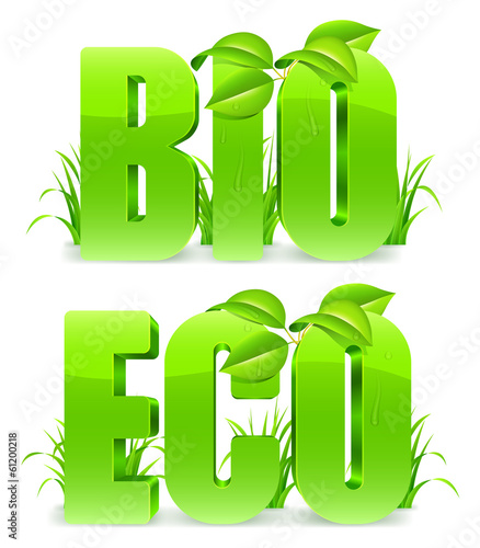 Green Bio and Eco words.