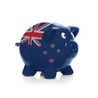Piggy bank with flag painting over it - New Zealand