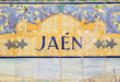 Jaen sign over a mosaic wall