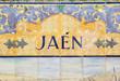 Jaen sign over a mosaic wall