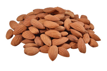 Heap of peeled almonds on a white