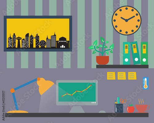 Modern office table, flat style vector format