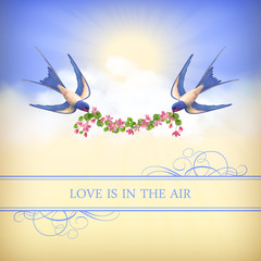 Flying bird, flower garland on sky background