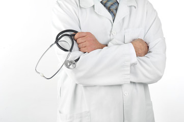 Close-up of a doctor holding a stethoscope with his arms crossed