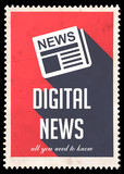 Digital News on Red in Flat Design.