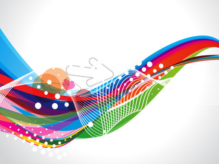 Abstract Colorful Wave With Dotts