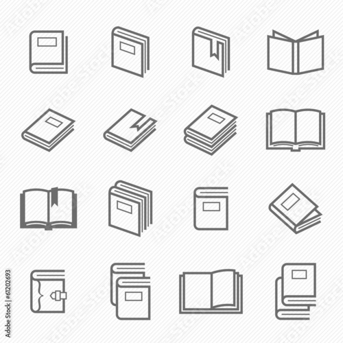 Book outline stroke symbol vector icons