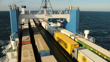 Sea ferry transports trucks