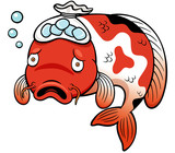 Vector illustration of Fish sick cartoon