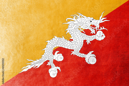 Bhutan Flag painted on leather texture