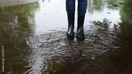 Kid have fun in puddle after rain. Legs in rubber boots splash