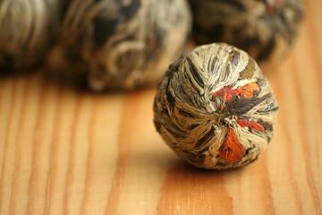 Chinese green tea balls with jasmine flowers