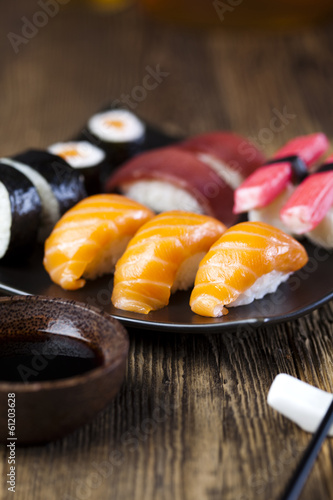 Asia and food on sushi