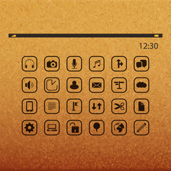 Icon Set On Abstract Background