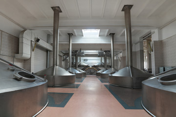 Interior of the brewery, mash vats